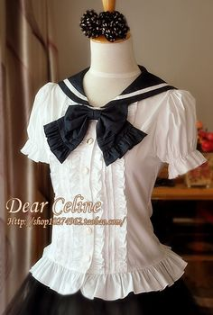 Dear Celine Sailor Lolita Style Blouse I would love to own this however it would appear they have already sold out. Gothic Lolita Fashion, Lolita Style, Sailor Dress, Cosplay, Japanese Outfits, Japanese Street Fashion, Kawaii Fashion, Fashion Branding, Grunge Fashion