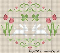 "Cross Stitch Charts [ ""bunny freebie - instead of the two leaves I would rather have our last name, it Cross Stitch Freebies, Cross Stitch Charts, Cross Stitch Designs, Cross Stitch Patterns, Cross Stitching, Cross Stitch Embroidery, Embroidery Patterns, Cross Stitch Animals, Cross Stitch Flowers"