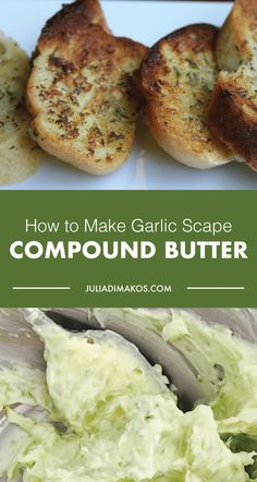 After some exploring, I decided to try my hand at garlic scape compound butter. The result is one that freezes well and may be used in countless ways. Recipe For Garlic Scapes, Scape Recipe, Garlic Recipes, Veggie Recipes, Crab Recipes, How To Cook Garlic, Pickled Garlic, 5 Ingredient Recipes, Compound Butter