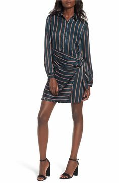 Main Image - J.O.A. Tie Front Stripe Shirtdress