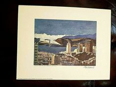 "FLOYD HILDEBRAND Print RUSSIAN HILL SAN FRANCISCO / LATE AFTERNOON 11.5 x 15"" Print, Artwork Display, Book Cover, Vibrant, San Francisco Artwork, Painting, San Francisco Art, Floyd, Art"