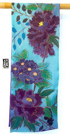 Reversible Large Hand Painted Silk Scarf ETSY by SilkScarvesTakuyo