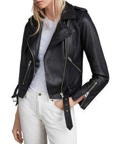 Allsaints Balfern Leather Biker Jacket - Black If you like Fashion Checkout our Roku Channel! Pretty Outfits, Stylish Outfits, Beautiful Outfits, Unique Outfits, Cropped Leather Jacket, Leather Jackets, Biker Jackets, Moto Jacket, Jackets For Women
