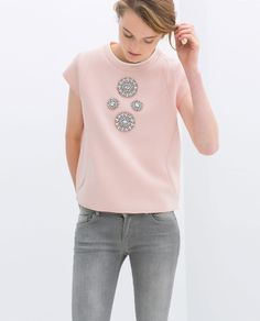 Zara Technical Fabric Top With Jewel on shopstyle.com