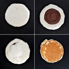 Τηγανίτες γεμιστές με πραλίνα φουντουκιού/Nutella stuffed pancakes Nutella Pancakes, Food And Drink, Vegan, Breakfast, Breads, Morning Coffee, Bread Rolls, Bread, Braided Pigtails