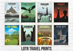 LOTR travel style location print sets. Choose how many prints you would like on the right in your chosen size, then let us know which prints you would like when purchasing through the comments to seller section. Locations available are; - Erebor - Laketown - Mordor - Isengard - - The