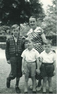 """""""My mother, Herta Hofer; I am standing between my older brother, Wolfgang... and my younger brother, Klaus."""" ~Tom"""