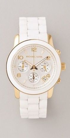 Michael Kors Watches Collection 2018 / 2019 : Fashionable women's watch in white with diamonds & traditional link bracelet. - Watches Topia - Watches: Best Lists, Trends & the Latest Styles Stylish Watches, Cool Watches, Women's Watches, Cheap Watches, Cheap Designer Watches, Handbags Michael Kors, Mk Handbags, Beautiful Watches, Watch Sale