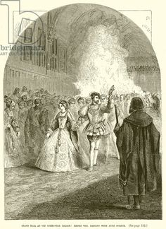 Grand Ball at Old Greenwich Palace: Henry VIII. dancing with Anne Boleyn. Illustration from John Cassell's Illustrated History of England (W Kent, 1857/1858). Digitally cleaned image.