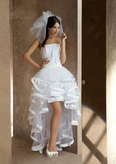 Ivory Organza High Low Hi Low Front Short and Long Back Wedding ...