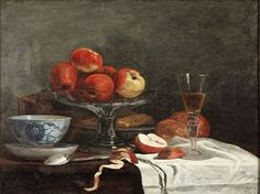 Eugene Boudin - NATURE MORTE A LA POMME, TASSE, CUILLÈRE ET VERRE À VIN (Still Life with Apples, Cup, Spoon and Glass)