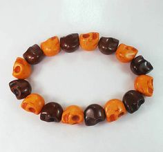 New Twin Color Turquoise Brown Orange Skull Bead Beads Stretch Bracelet, $$5.20
