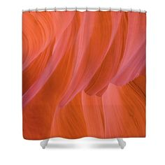Orange Magic Shower Curtain featuring the photograph Orange Magic by Elena Chukhlebova #showercurtain #orange #bathroomdecor #antelopecanyon #antelope #canyon #bathroomdecor #accent #bathroomaccent #nature #photo #elenachukhlebova #USA #America #homedecor