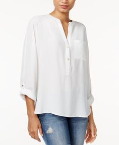 This work-perfect blouse from Bar Iii is as chic for the off-hours as it is for the office. | Polyester | Machine washable | Imported | Collarless | Pullover style; button closure at chest | Roll-tab