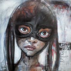 .Weltschmerz-Girl Always Hurt Herself The Most, Aerosol, acrylic and charcoal on canvas