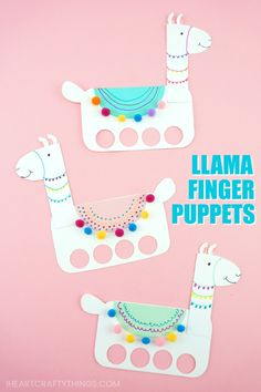 Get the template to make these playful llama craft finger puppets. Fun llama craft for kids to create, decorate and play with. Cute Llama birthday party activity. #kidscraft #papercraft #paperart #kidsactivities #artprojectsforkids #iheartcraftythings #summercamp #crafts #craftsforkids