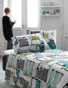 Architectural Textile Patterns - Kotona by Anu Kanervo, Finlayson: Inspired by floorplans of the Finnish metropolitan area. Simple Geometric Designs, Design Your Own Home, Graphic Design Pattern, Design Research, Home Bedroom, Kids Bedroom, Deco Furniture, Retail Design, Soft Furnishings