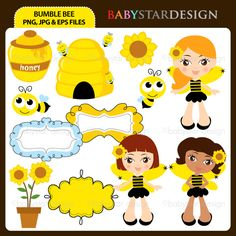 12 graphic elements of bumble bee theme. Perfect for birthday invitations, craft projects, paper products, invitations, stationery, scrapbooking, web designs, stickers and many more!