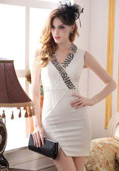 f53064525b8 Lace   Satin V Neck Sheath  Column Asymmetric Waist Evening Dresses -  Voguequeen.com