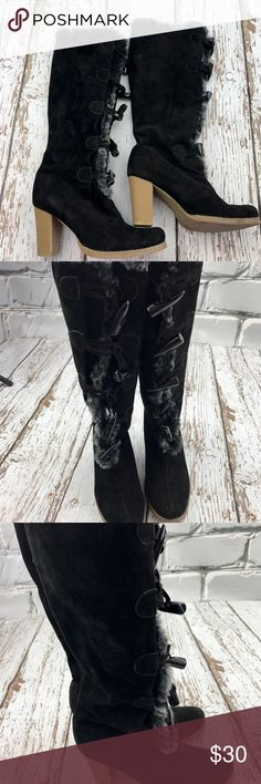💕SALE💕Black Suede Leather and Gray Fur Boots Gorgeous 💕Black Suede Leather and Gray Fur Boots with Toggle Closures worn once Colin Stuart Shoes Winter & Rain Boots