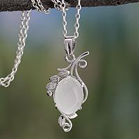 Moonstone pendant necklace, 'Luminous Illusion'