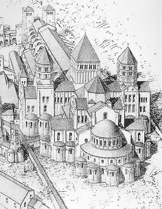 Cluny III Romanesque Architecture, Ancient Architecture, Drawing Sketches, Drawings, Kirchen, Art History, Christianity, Building A House, Taj Mahal