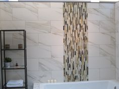 Bathroom tiled wall with stripe liner accent