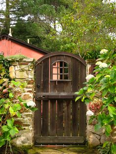 Love this gate.  Carmel Stone around it