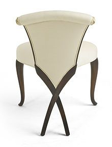 Christopher Guy: Luxury Furnishings for Living, Dining, Bedrooms and Workspace - GIVENCHY Elegance is exemplified in this carved mahogany boudoir chair, bearing Christopher Guy's signature Chris-cross legs. Funky Furniture, Unique Furniture, Furniture Decor, Furniture Design, Plywood Furniture, Luxury Furniture, Christopher Guy, Art Deco, Take A Seat