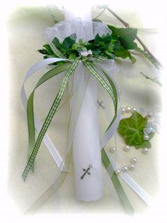 Set: Tropfschutz Organza u. Kerzenring Grün Weiß  Kommunion/Konfirmation Kerzen und Zubehör Kerzenröcke