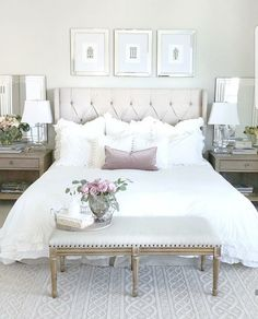 Looking for Bedroom Remodel ideas? Get the best Modern Bedroom Designs ideas. From Luxurious modern Master Bedrooms decor to Furniture to lighting ideas. Bedding Master Bedroom, Cozy Bedroom, Home Decor Bedroom, 1920s Bedroom, Modern Bedroom Design, Beautiful Bedrooms, Romantic Master Bedroom Ideas, My New Room, Home And Living