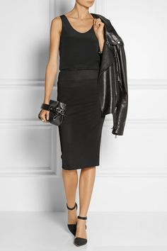 Minimal and Classic Style // Black stretch-jersey pencil skirt by Helmut Lang // NET-A-PORTER