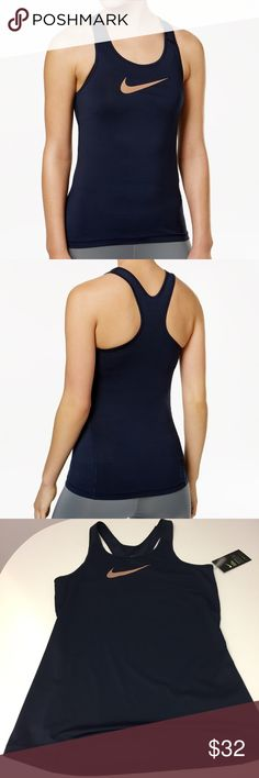 Nike Tank Top •scoop neckline  •sleeveless with low racer back •Nike pro cool fabric with mesh insets at back, shoulders. Logo at front •fitted silhouette, hits at hip •Polyester/Spandex, mesh: Polyester  •Machine Washable Color: dark blue  NO TRADES OFFERS WELCOMED! BUNDLE TO SAVE  FEEL FREE TO ASK ANY QUESTIONS Nike Tops Tank Tops