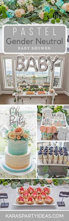 Pastel Gender Neutral Baby Shower via Kara's Party Ideas #babyshowergifts