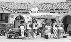 Gas Under the Goodyear Dirigible 1931- Motor Tires Inc. opened a brand new Goodyear tire store at West 2nd Street and South La Brea Avenue, in Los Angeles, CA, in 1931. During this period most Goodyear tire operations in the area that offered gasoline displayed one or more of the Goodyear Blimps symbols over the gas pump island.