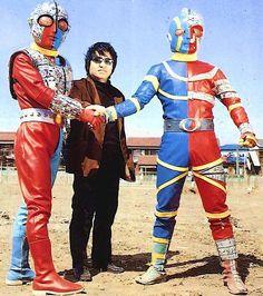 kikaida and kikaida 01 with creator Ishinomori Shotaro Live Action, Japanese Monster Movies, Hero Tv, Robot Cartoon, Japanese Superheroes, Storyboard Artist, Japanese Film, Hero Costumes, Old Tv