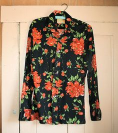 70's Mod Men's Hipster Nylon Black Orange Flowers Shirt from MisterBibs
