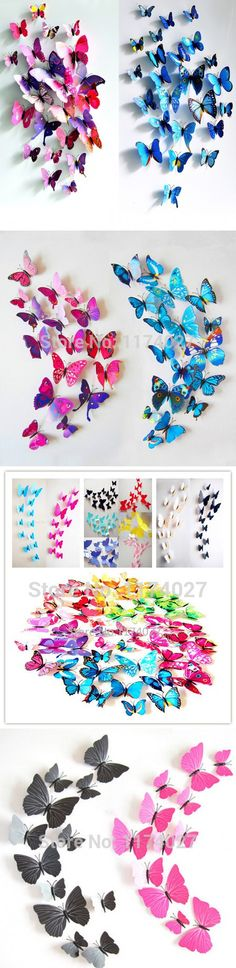 12 Pcs/Lot PVC Butterfly Decals 3D Wall Stickers Home Decor Poster for Kids Rooms Adhesive to Wall Decoration Adesivo De Parede $0.17