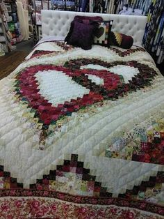 Fabric Ideas Linking Heart Quilt – Log Cabin Quilt Shop - Red and Black Linking Heart Quilt. Size: Queen, x The border is straight. this quilt is handmade and quilted in Lancaster County, PA. Bargello Quilt Patterns, Heart Quilt Pattern, Log Cabin Quilt Pattern, Bargello Quilts, Quilt Block Patterns, Quilt Blocks, Édredons Cabin Log, Log Cabin Quilts, Log Cabins