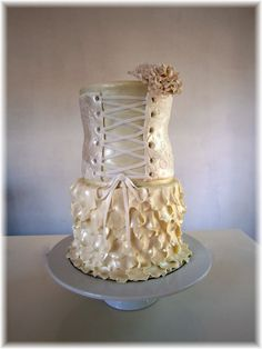 this was actually a cake i made for my birthday .... ruffle cake with corset * Cakes by Bonnie