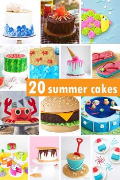 A roundup of 20 fun SUMMER CAKES -- summer cake ideas for BBQs beach parties or summer time birthdays. Summer Cupcakes, Summer Cookies, Campfire Cake, Pool Party Cakes, Fishing Cupcakes, Ice Cream Cone Cake, Beach Cakes, Cake Blog, Cute Cakes