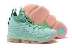 size 40 0b28d 9bb9d Nike LeBron XV EP 15 Mens Original Basketball Shoes Mint Green Pink