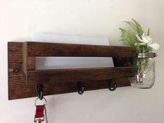 Rustic mail organizer key rack with mason jar by TreetopWoodworks