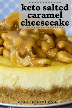 My indulgent Salted Caramel Cashew Cheesecake has a cashew crust, creamy cheesecake, and is topped with salted caramel Cashew Cheesecake, Low Carb Cheesecake, Cheesecake Recipes, Dessert Recipes, Dessert Ideas, Blueberry Cheesecake, Cheesecake Bars, Pear And Almond Cake, Almond Cakes
