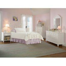 Westfield 5 Piece Twin Metal Bedroom Set - Hillsdale 1354TWM5SET by Hillsdale Furniture. $1308.75. Bedroom. Perfect for a little girl's room, Hillsdale Furniture's adorable Westfield canopy bed boasts a charming arched design, sweet scrollwork, and a canopy option to create your daughter's dream bedroom. This setincludes thetwin bed, dresser, mirror, nightstand,andchest.Finished in a pretty white, this bed is ideal with your current bedroom furnishings or as an eclectic metal bed...