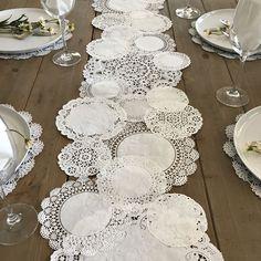 TABLE RUNNER Shabby Rustic Paper Doilies Diy Weddings