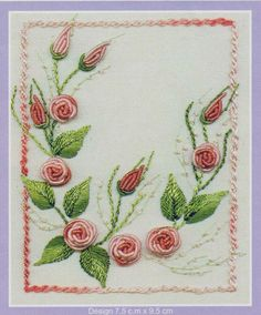 Bullion Rose by Delma Moore.  The Petites Series is an exciting range of small patterns. Each pattern features one of Delma's most popular Brazilian Embroidery flowers. Stitch them indiviually or put them altogether for a pretty small quilt or wallhanging. Each finished design measures 7.5 x 9.5cm.    http://www.australianneedlearts.com.au/bullion-rose-delma-moore#