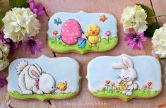 Easter cookies by Lenka Kutsu ( Fancy Cookies, Iced Cookies, Holiday Cookies, Cupcake Cookies, Cookie Favors, Torta Baby Shower, Easter Cupcakes, Easter Cookies, Easter Biscuits