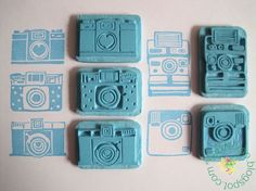HAND CARVED CAMERA STAMPS