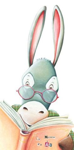 Bruno Robert Illustration - bruno, robert, bruno robert, painted, paint, commercial, picture book, young reader, YA, animal, donkey,glasses, reading, book, shirt, pattern,